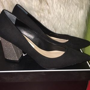 Nina black suede with glitter heel Size 6